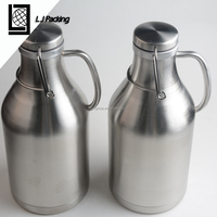64OZ double wall stainless steel water beer bottle with Lid
