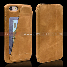 New Design Full Grain Brown Oil Wax Real Leather Case For Iphone 7 With Credit Card Holders