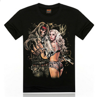 black 100 percent knitted cotton t shirt of sexy beauty with violent ghost designs