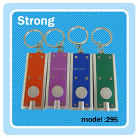 custom logo Wholesale PVC material led light key chain 3D metal double light led keychain with keyring