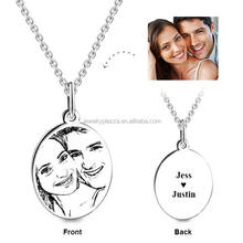 Drop Shipping 925 sterling silver photo engraved pendant necklace Unique Personalized Jewelry