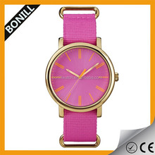 Cheap beautiful ladies watch ,alloy metal case watch ladies ,Nato nylon colorful strap watch ladies