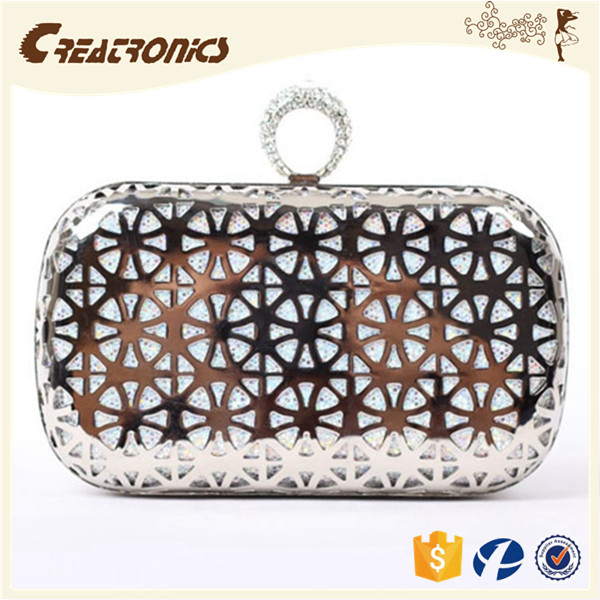 CR More than 80% customer repeat order shining gridding mesh woven surface oval shape trendy noble metal purse