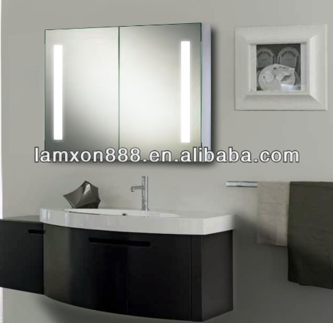 2015 New style Shower LED mirror cabinet ,modern bathroom mirror with glass cabinet with shaver socket