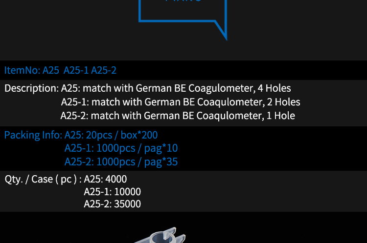 Match with German BE Coagulometer 4 Holes