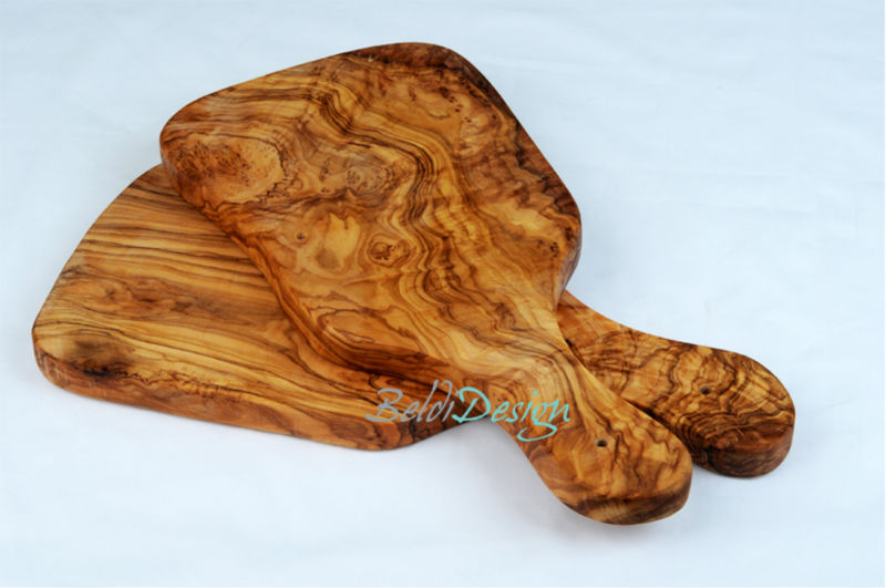 Handcrafted Olive Wood Cheese/Bread Cutting Board by Artisans in Tunisia Available in different Shapes/Sizes