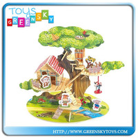 3D wooden educational puzzle for kids