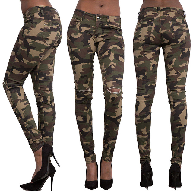 Print Women Skinny Jeans Military Camouflage Stretch Denim Pants