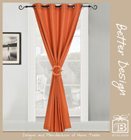 1Pc 100% Polyester Orange Color Faux Silk Grommet Style Curtains Designs for Home with Matching Clip