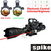 SPIKE Tactical Rifle Scope 4-16x50EG Dual Illuminated with Red Laser and Red Dot Sight 3-in combo