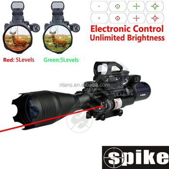 Spike Tactical Rifle Scope 4-16x50EG Dual Illuminated with Red Laser and Red Dot Sight, 3 in 1 Combo Scope