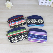 Ethnic Style Bohemian Pattern Cotton Cloth Fabric Wristlet Small Coin Purse