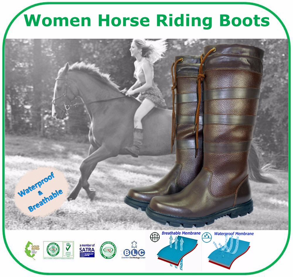 Unique Genuine Leather Women Horse Riding Waterproof Boots