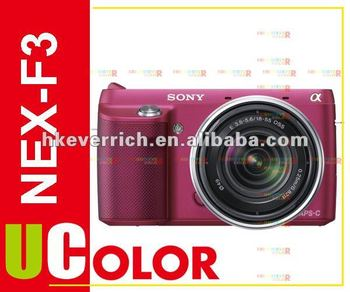 Genuine Sony NEX-F3 NEX-F3Y Digital Camera + 18-55mm + E 55-210mm 2 Lens Kit Red