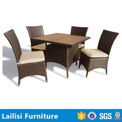 Viro outdoor furniture wicker chair dining solid wood table set
