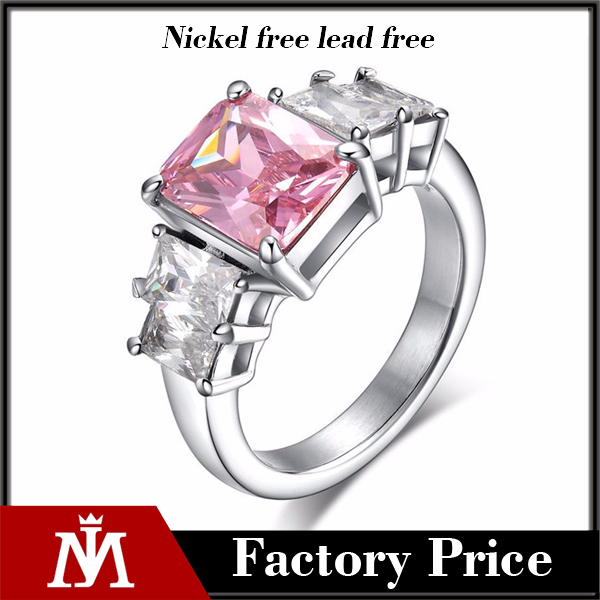 Stainless Steel Never Fade Fancy Diamond Ring for Womens Wedding Luxury Jewelry