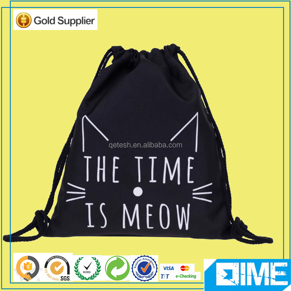 With Durability High Quality Black Cotton Drawstring Bag