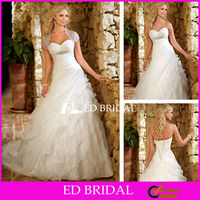 2012 New Style Organza Ruffle Wedding Dress A Line Sweetheart Ruched Beaded Bridal Gown with Sheer Short Sleeve Jacket Bolero