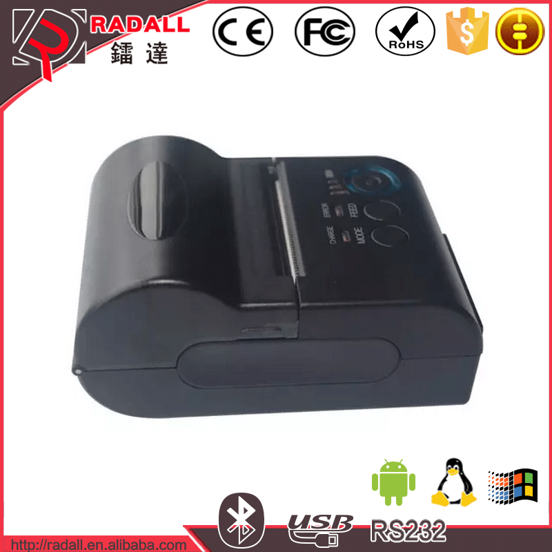 80LYDD Mini Portable Bluetooth + USB 80mm 90mm / s POS Printer Thermal Receipt Printer Mobile Phone Android