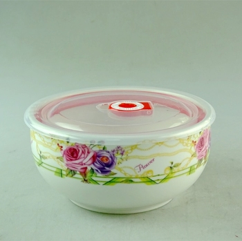 16cm roses decal porcelain fresh bowl noodle bowl with clear cover lid for promotion