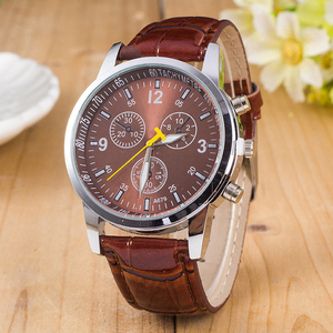 Mens Roman Numerals Glass Watches Men Luxury Leather Quartz Business Wrist Watch