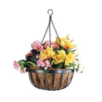 Galvanized Metal Round Wall Hanging Planter Basket