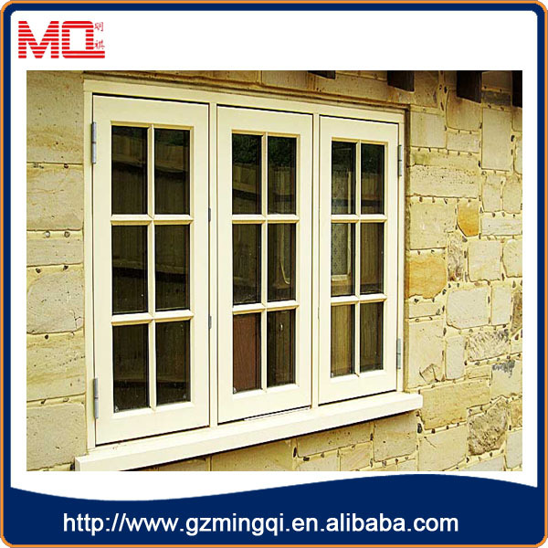 Modern style pvc waterproof double glass hurricane impact windows with grill design