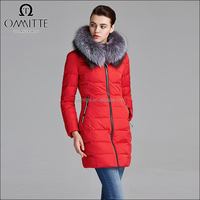 New Model Winter Woman Red Color Soft Shell Long Sleeve Hooded Fur Collar Down Jacket for the Winter