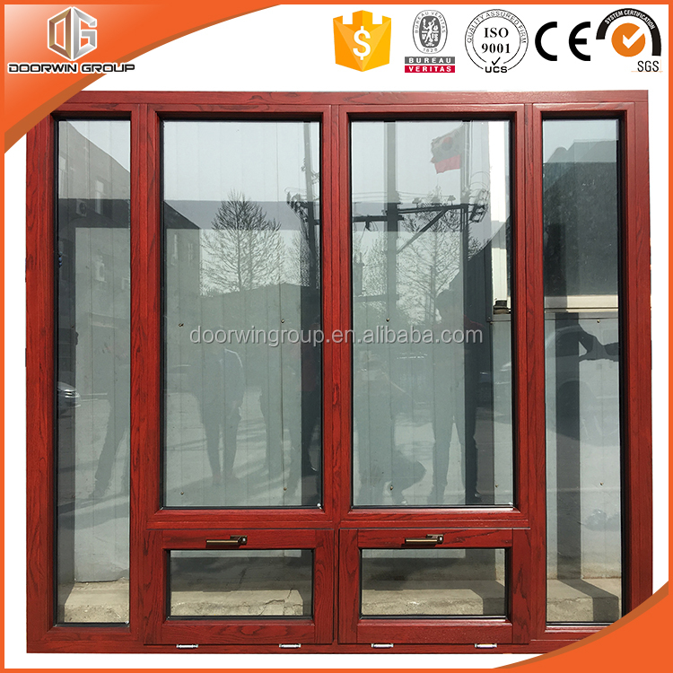 Arch top grilled thermal break aluminium-clad wood casement window by chinese windows and doors factory