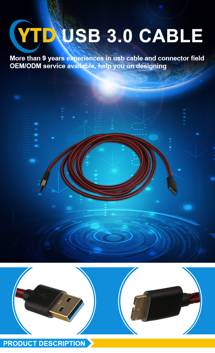 High speed transmission micro B to usb 3.0 data cable for computer