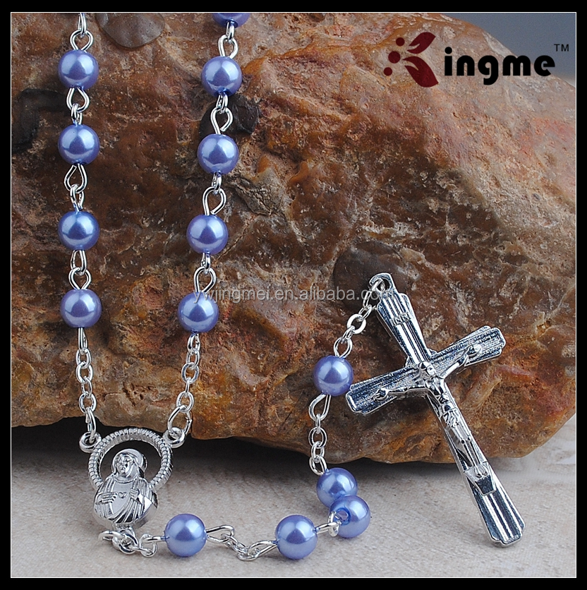 Yiwu High Quality 6mm Plastic Pearl Beads Rosary Necklace for Catholic