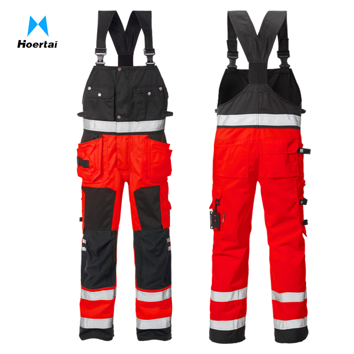 Customize Red and Black High Vis Bib Brace Reflective Work Trousers