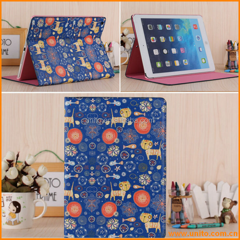 Newest Cute cartoon pu case for ipad 5,popular leather tablet cover