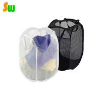 Foldable Laundry Basket Bag Pop Up Mesh Hamper Wash Clothes Storage Bin