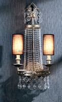 Vintage Home Decorative Crystal Hanging Wall Lighting, Fine Iron Art Lamp Wall Sconce