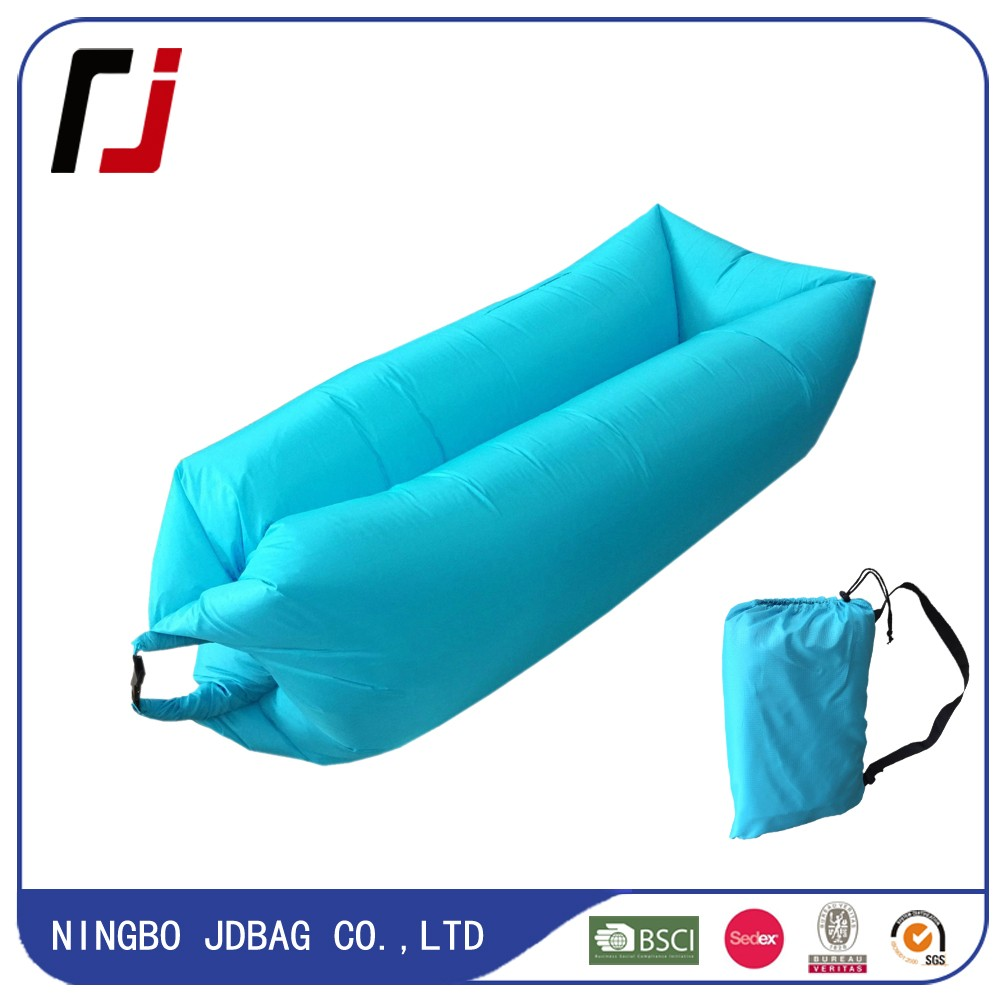Flocking Inflatable Air Sofa Green Sleeping Bag Camping Sleep Air Bed Inflated Lounger Lazy Bag 3 Colors Pink Red