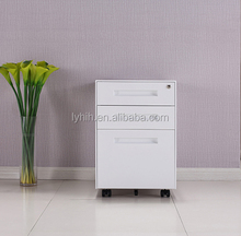 Modern 3 drawer pedestal metal mobile office stainless steel file cabinet