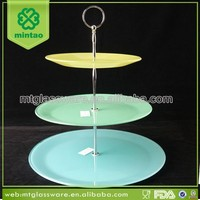 decorative colorful glass cake plate cup cake stand