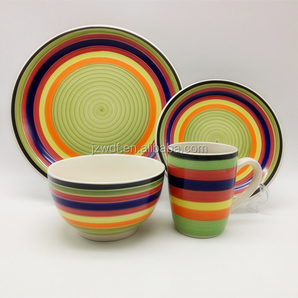 Household 12/16pcs Ceramic Dinnerware Circle Pattern Handpainted Stoneware set