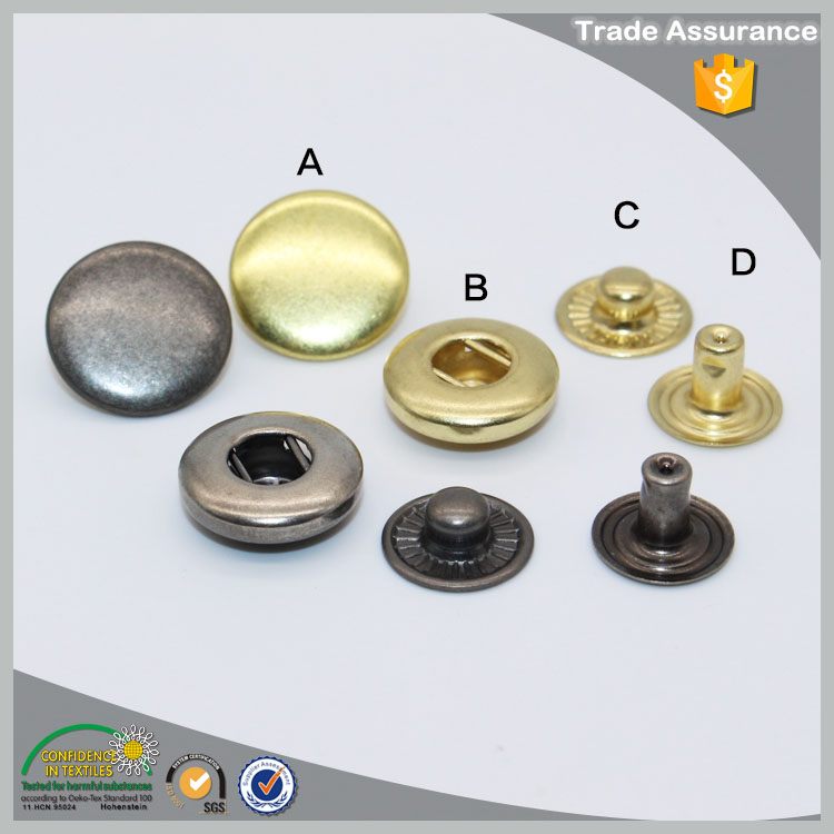 Custom push spring buttons snap fasteners