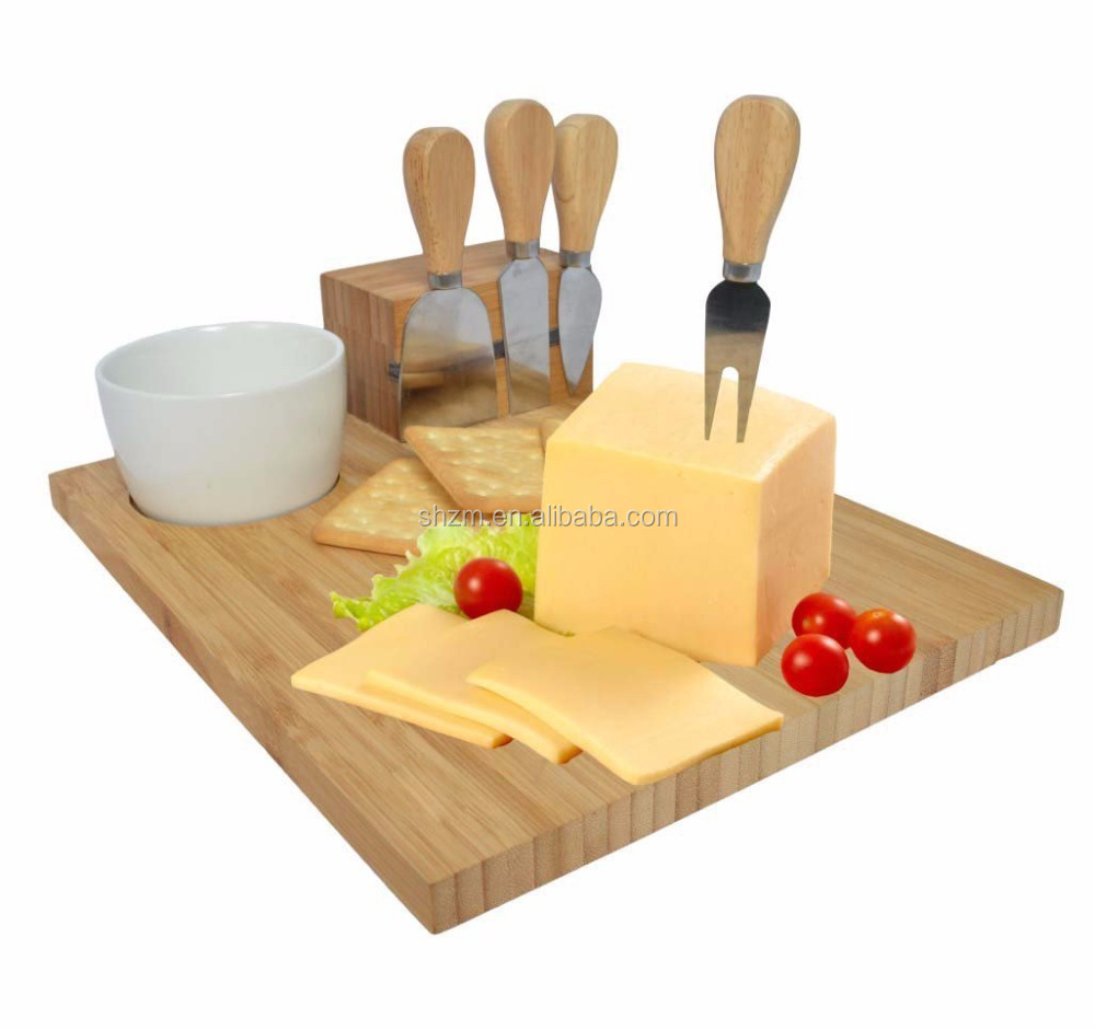 100% Natural Bamboo Wood Cheese Board Set Kitchen Cutting board with Built-in Magnet, 4 Piece Cheese Knife Set and Porcelain