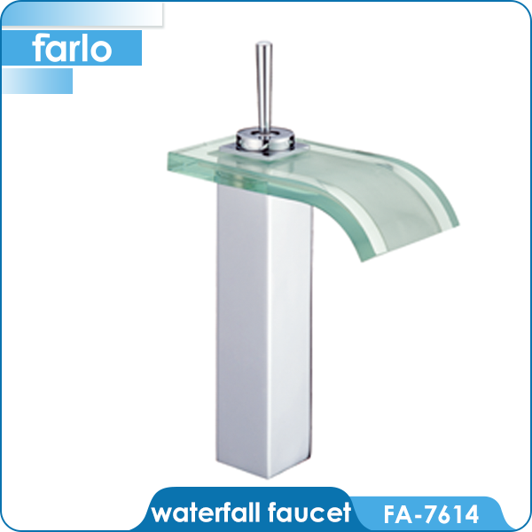FARLO Bathroom sink glass waterfall led faucet