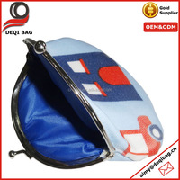 custom hat shape coin pouch house and car colorful printing oilcloth blue money bag with metal clip