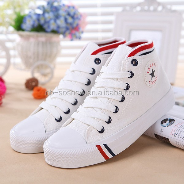 Wholesale kids white canvas high top shoes