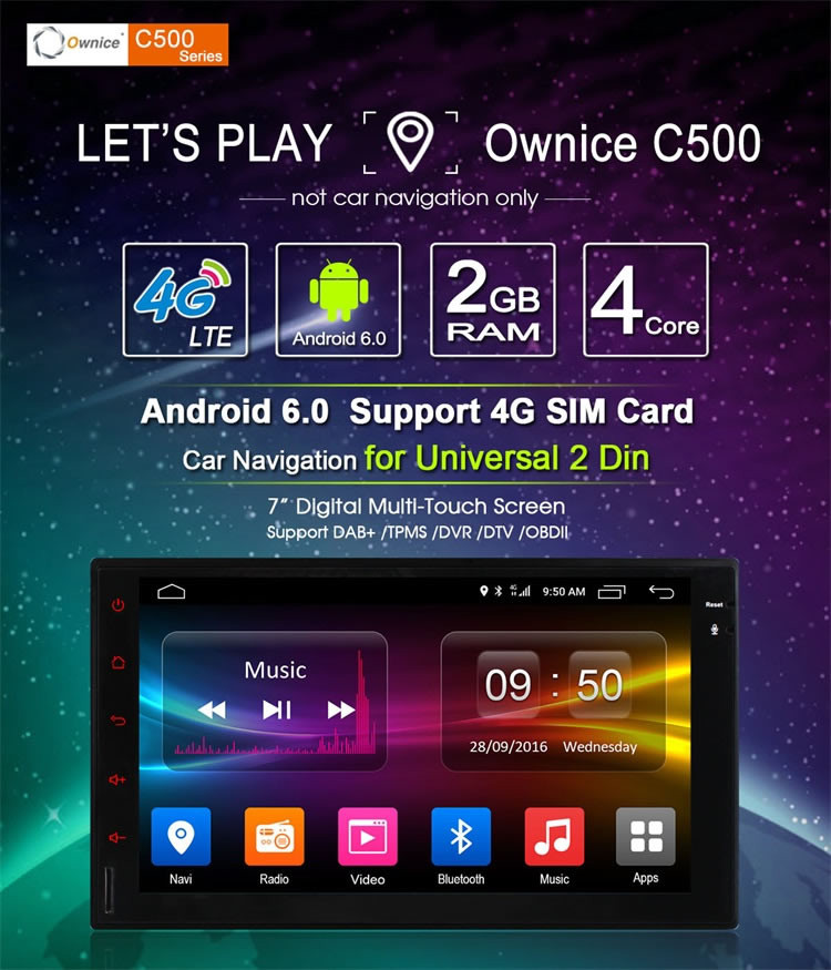 Ownice Quad Core Android 6.0 2G Ram auto headunit for double din universal Built-in Wifi 4G LTE support DAB DVR