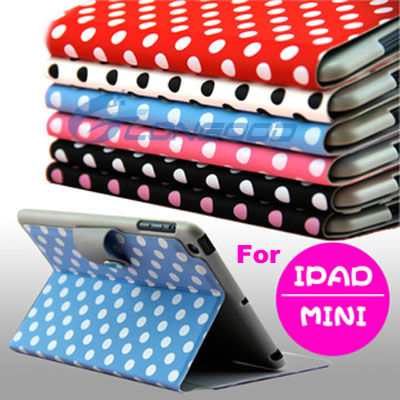 Polka Dot Pattern Folio Stand Leather Case for iPad Mini