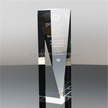 Crystal Glass Diamond Trophy Cup with Engraved Pillar Hold
