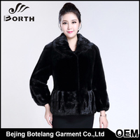 Natural Turn collar lantern cuff drawstring waist high density linning Econ-tan Mink fur jacket