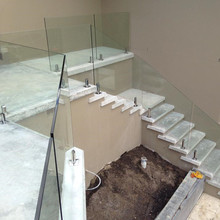Internal staircase steel glass balustrade