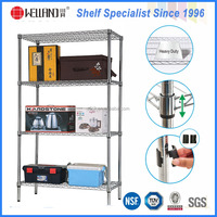 Multi-purpose 4 Tiers Chrome Metal Wire Display Rack With NSF Approval